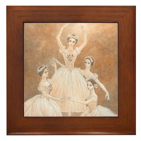 Pas de Quatre Ballet Framed Tile (sepia)