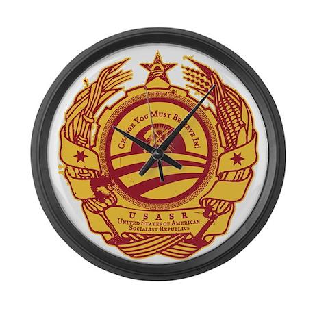 Obama Soviet Seal Large Wall Clock
