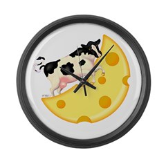 Cow Jumped Over the Cheese Mo Large Wall Clock
