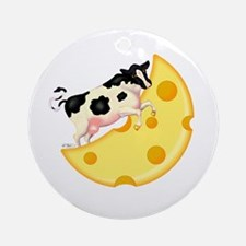 Cow Jumped Over the Cheese Mo Ornament (Round)