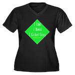 I Kicked Grass Women's Plus Size V-Neck Dark T-Shi