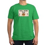 WILL WORK FOR CAKE Men's Fitted T-Shirt (dark)