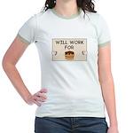WILL WORK FOR CAKE Jr. Ringer T-Shirt