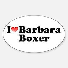 I Love Barbara Boxer Oval Decal