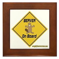 Beaver On Board Framed Tile