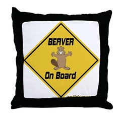 Beaver On Board Throw Pillow