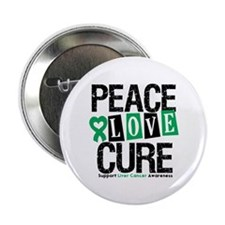 """Liver Cancer PeaceLoveCure 2.25"""" Button"""