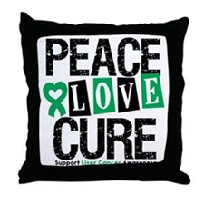 Liver Cancer PeaceLoveCure Throw Pillow