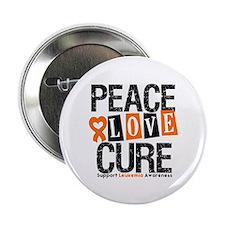 """Leukemia PeaceLoveCure 2.25"""" Button"""