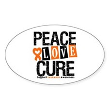 Leukemia PeaceLoveCure Oval Decal