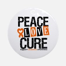 Leukemia PeaceLoveCure Ornament (Round)