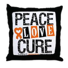 Leukemia PeaceLoveCure Throw Pillow
