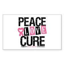Breast Cancer PeaceLoveCure Rectangle Sticker 10