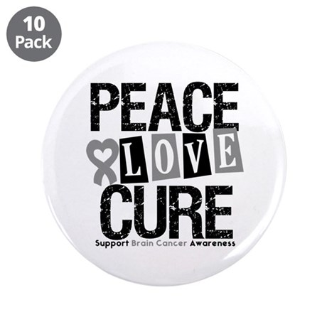 """Brain Cancer PeaceLoveCure 3.5"""" Button (10 pack)"""