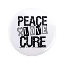 "Brain Cancer PeaceLoveCure 3.5"" Button (100 pack)"