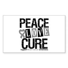 Brain Cancer PeaceLoveCure Rectangle Decal