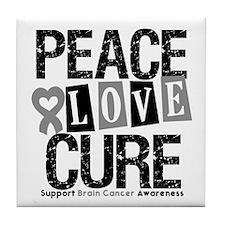 Brain Cancer PeaceLoveCure Tile Coaster