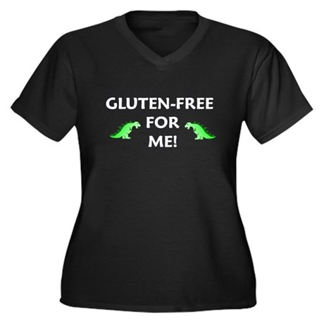 GLUTEN-FREE FOR ME! Women's Plus Size V-Neck Dark