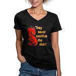 Sacrifice the Sluts Women's V-Neck Dark T-Shirt