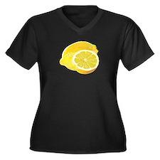 Just Lemons Women's Plus Size V-Neck Dark T-Shirt