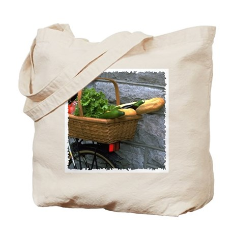 Bicycle with Basket Tote Bag