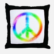 Tie Dye Peace Sign Throw Pillow