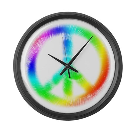 Tie Dye Peace Sign Large Wall Clock