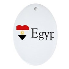 I Love Egypt Oval Ornament