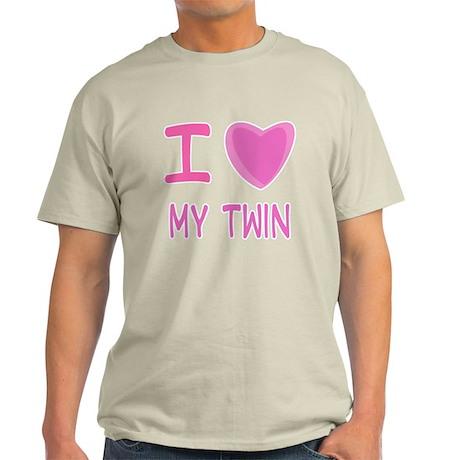 Pink I Heart (Love) My Twin Light T-Shirt