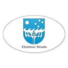 Christmas Islander Coat of Ar Oval Decal