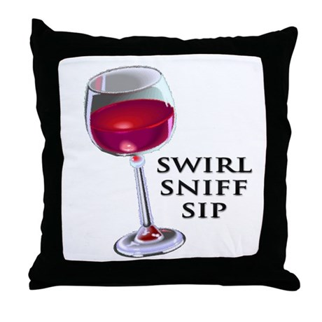 Swirl Sniff Sip Throw Pillow