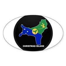 Flag Map of CHRISTMAS ISLAND Oval Decal