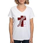Easter Cross with Rose Swag Women's V-Neck T-Shirt