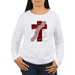 Easter Cross with Rose Swag Women's Long Sleeve T-