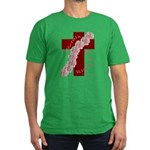 Easter Cross with Rose Swag Men's Fitted T-Shirt (