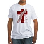 Easter Cross with Rose Swag Fitted T-Shirt