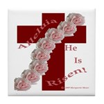 Easter Cross with Rose Swag Tile Coaster