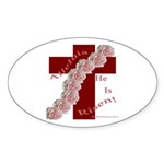 Easter Cross with Rose Swag Oval Sticker (10 pk)