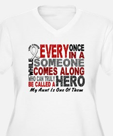 HERO Comes Along 1 Aunt LUNG CANCER T-Shirt