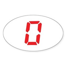 0 Zero alarm clock number Oval Decal