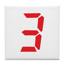 3 three red alarm clock numbe Tile Coaster