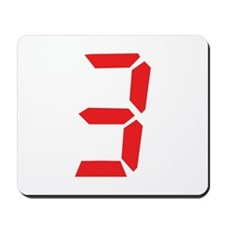 3 three red alarm clock numbe Mousepad