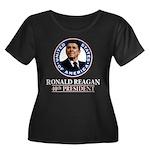 Ronald Reagan Women's Plus Size Scoop Neck Dark T-