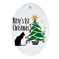Kitty's 1st Christmas Oval Ornament