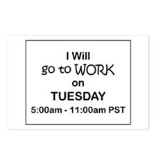 I'll go to work on Tuesday, Postcards (Pack of 8)
