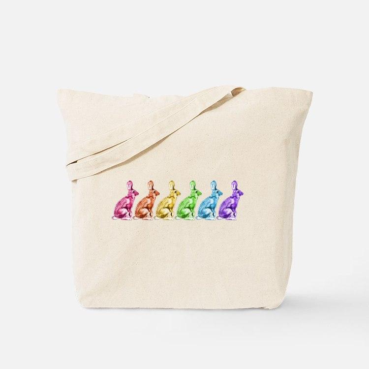 Rainbow Rabbits Tote Bag