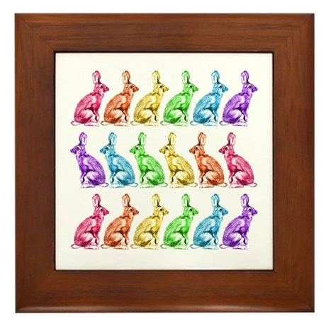 Rainbow Rabbits Framed Tile