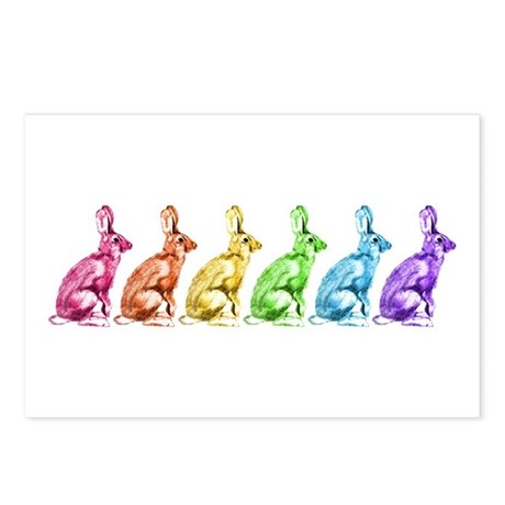 Rainbow Rabbits Postcards (Package of 8)