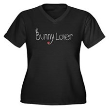 Bunny Lover Women's Plus Size V-Neck Dark T-Shirt