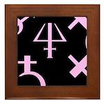 Gothic/Goth Alchemy Symbols (black & pink) Framed